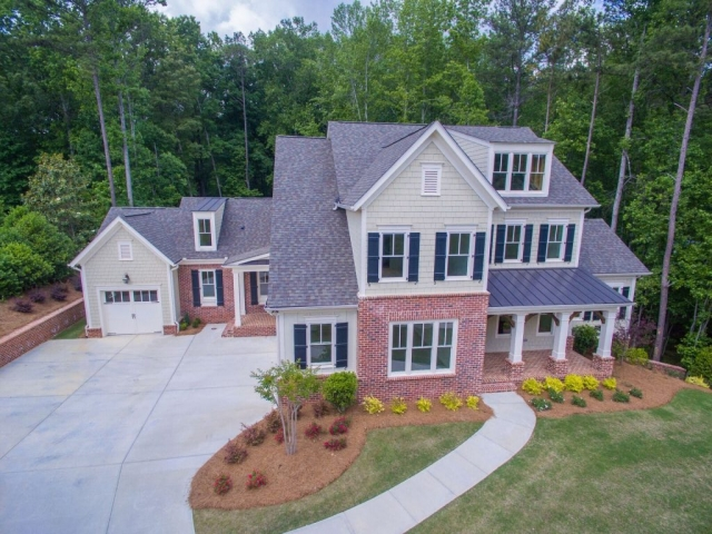 Birds eye view of the front of the house
