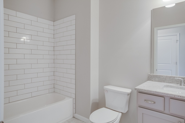 Upper level bathroom, connected to bedroom