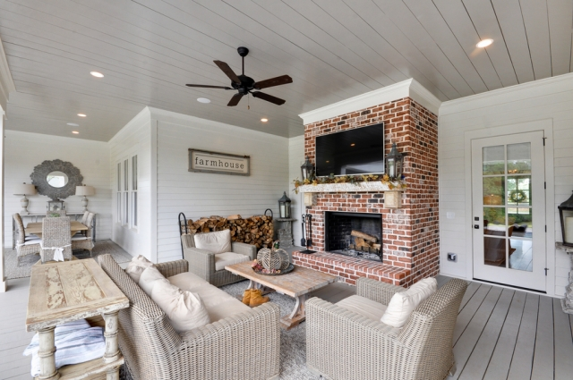 Modern Farmhouse Covered Patio with Fireplace