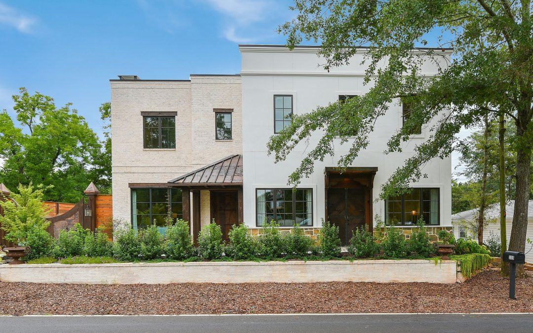 Front Exterior White Brick and Stucco with Wood and Copper accents