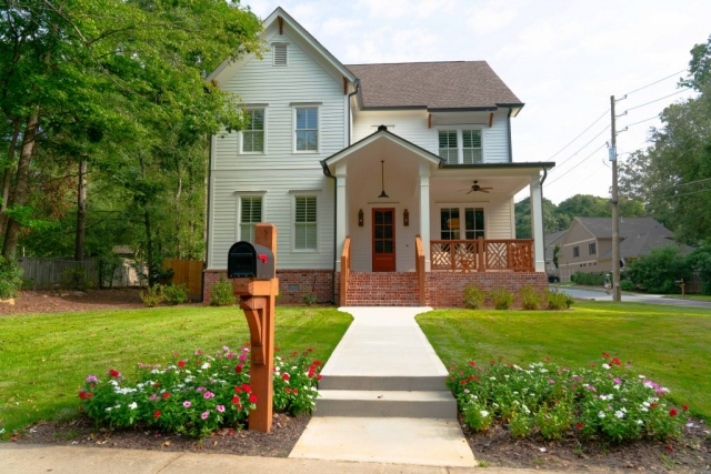 White Farmhouse front elevation